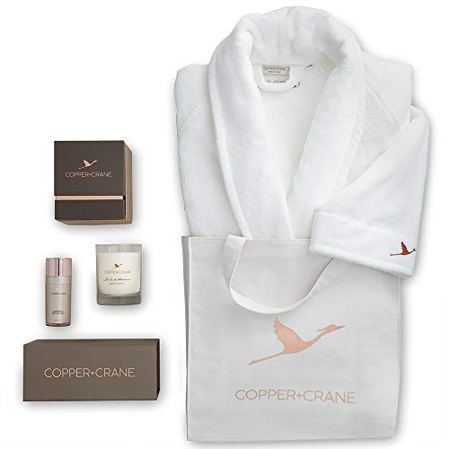 Home Spa & Scented Candle Gift Basket | COPPER+CRANE Serenity Set with Luxury Bath Robe - Gift Getaway Basket