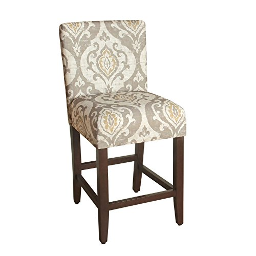 HomePop Upholstered Counter Height Barstool, 24-Inch, Taupe and Cream (Chairs Upholstered Ikat)