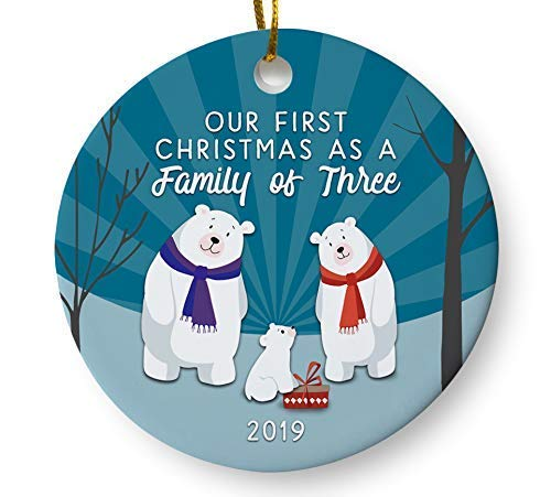 Our First Christmas as a Family of Three 2019 Christmas Tree Ornament, Woodland Winter Holiday Keepsake Gift for Baby New Parents, 3 Inch Flat Ceramic Ornament with Gift Box (Hallmark Ornament First Christmas)