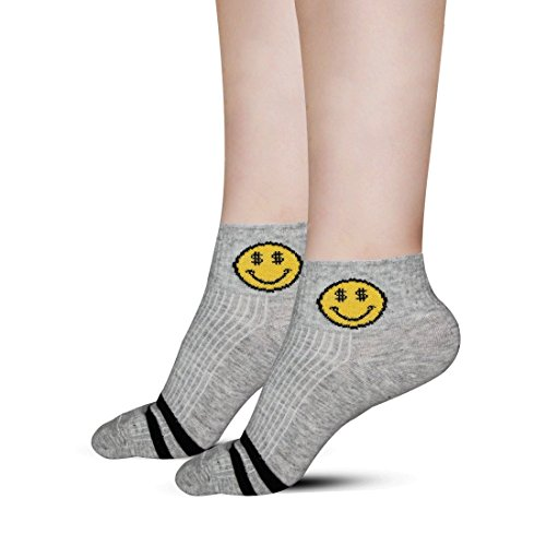 7589afeae8ec2 MEATFLY. Women's No Show Low Cut Ankle-Compression Funny Socks 2 Pairs  Packs (Gray-2)