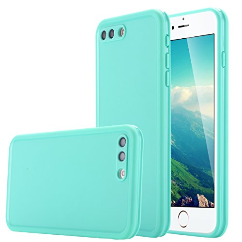 LONTECT iPhone 8 Plus/iPhone 7 Plus Waterproof Case, Ultra Slim Thin Light Dirt/Dust Proof Snowproof Shockproof Case Full Body Underwater Protective Cover for Apple iPhone 8 Plus/7 Plus - Teal