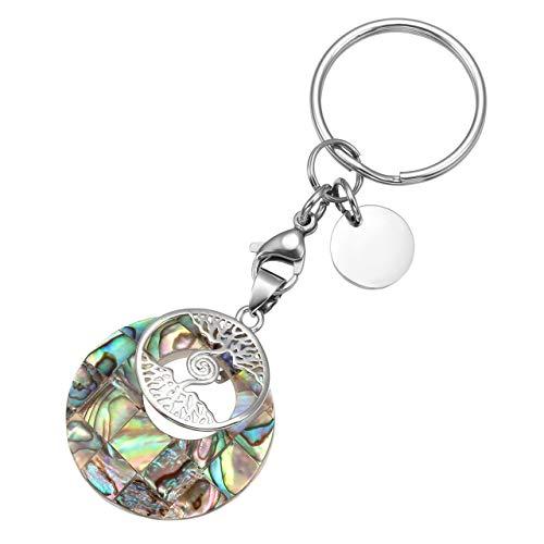 - Top Plaza Custom Keychain - Personalized Name Engraved Gemstone Healing Crystal Pendant Tree of Life Keychains Key Ring - Abalone Shell - No Customize