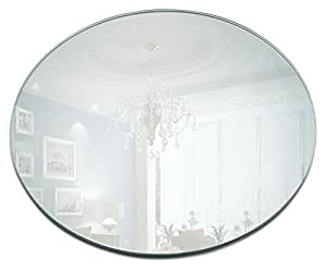 12 inch round mirror candle plate with round edge set of 2 home kitchen. Black Bedroom Furniture Sets. Home Design Ideas