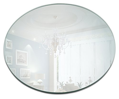 Round Mirror Candle Plate Set - Box of 12 Mirror Trays - 12 inch Diameter, 1.5 mm Thick Rounded Edge - Round Mirror for Centerpieces, Wall Décor, -