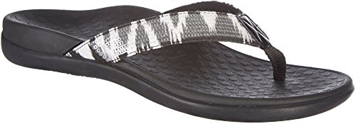 Vionic Tide Sequins Thong Flip Flop Sandal Shoe, Black/White, Women's, 8 by Vionic