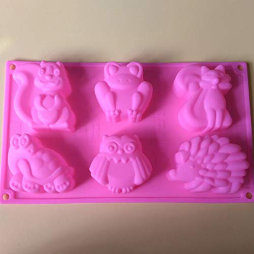 1 piece 6 cavity animal Hedgehog tortoise fox shape silicone mold fondant cake decoration mold ice mold resin clay craft mold DIY -