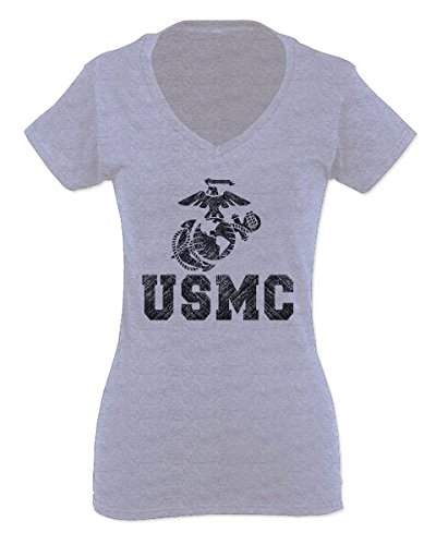 USMC Marine Corps Big Logo Black Seal United States of America USA American for Women V Neck Fitted T Shirt (Light Gray Medium)