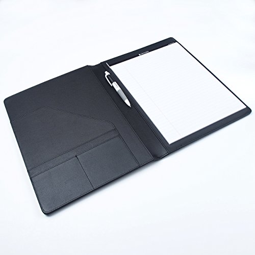 AHZOA 4 Pockets A4 Size Memo Padfolio S3 with Mechanical Pencil, Including 8.27 X 11.7 inch Legal Writing Pad, Synthetic Leather Handmade 9.84 X 12.99 inch Notepad Clipboard (Black) by AHZOA (Image #3)