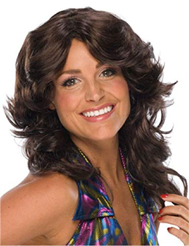Ick Costume Adult Brown Brunette Feathered 70s Farah Angel Wig