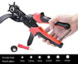 Leather Hole Punch, Hang Rui Heavy Duty Belt Puncher Plier Easily Punches Fabric Saddle Leather Belt Cardboard Paper Epaulettes Rigid PVC (Full Round)