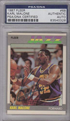Karl Malone Utah Jazz 1987 Fleer Signed AUTOGRAPH - PSA/DNA Certified - Basketball Slabbed Autographed Rookie -