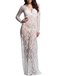 U-Story Sexy Deep V-Neck Long Sleeve Lace Beach See-through Maternity Maxi Dress