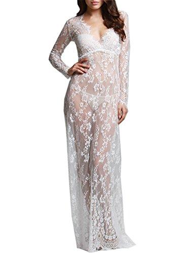U-Story Womens Deep V Neck Lace See Through Maternity Dress Long Sleeve Beach Dresses