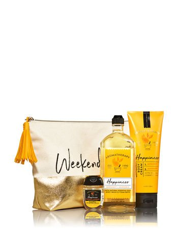 (Bath & Body Works Aromatherapy HAPPINESS - BERGAMOT & MANDARIN Weekend Vibes Gift Bag)