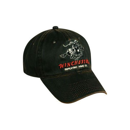 Winchester Dark Brown Weathered Cotton Cap w/ Repeating Arms Co. Horse and Rider Logo ()