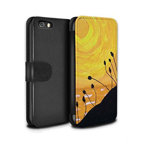 Stuff4 Coque/Etui/Housse Cuir PU Case/Cover pour Apple iPhone SE / Jaune Design / Peinture Huile Coucher Collection
