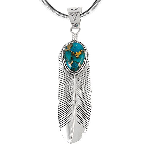 (Turquoise Feather Pendant Necklace in Sterling Silver 925 & Genuine Turquoise (20