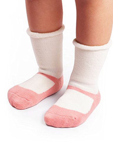 BabaMate 3 Pairs Winter Terry Cotton Baby Socks - Cute Newborn Infant Mary Jane Socks - Thick Warm Toddler Socks for (Mary Jane Newborn Booties)