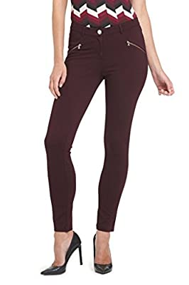 Rekucci Collection Women's Ponte Stretch Knit Pants W Zippers