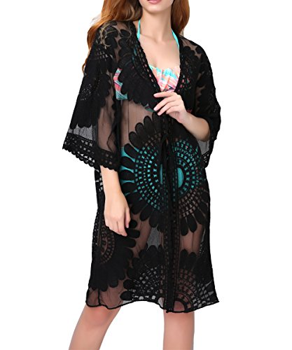 Aboutwome Women Beach Cover Up Swimsuit Floral Cardigan Beachwear Oversized Bathing Suit Swimwear (US L/XL, Black)