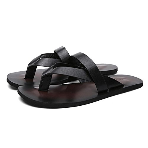 SHANGXIAN Cuero al aire libre Casual chanclas al aire libre informal deporte sandalias plana talón hombres de los zapatos fuera negro marrón Black