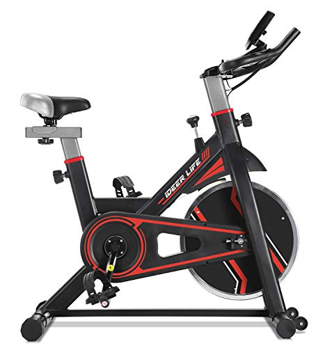 IDEER LIFE Exercise Bike Stationary Indoor Cycling Bike, Heavy Duty Exercize Bike,Adjustable Indoor Cardio Exercise Bike for Home Gym,Belt Drive,w Pulse Sensor LCD Monitor,Max Capacity 330lb