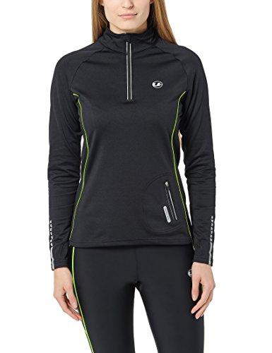 Ultrasport Damen Jimi windabweisendes angerautes Fleece Laufshirt mit Reflektoren und Quick-Dry-Funktion, Schwarz/Neon Gelb, L, 11013