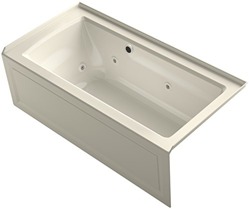 "KOHLER K-1947-RAW-47 Archer 60"" x 30"" Alcove Whirlpool Bath with Bask Heated Surface, Integral Apron, Tile Flange and Right-Hand Drain, Almond"
