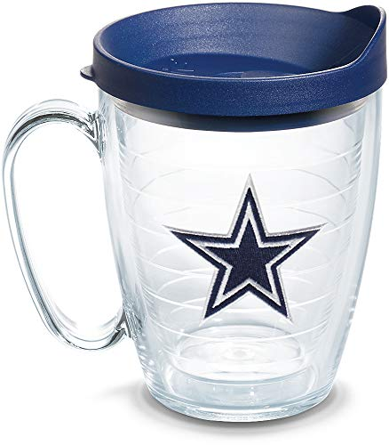 Tervis 1062474 NFL Dallas Cowboys Primary Logo Tumbler with Emblem and Navy Lid 16oz Mug, Clear