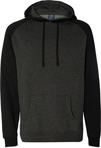 Independent Trading Co Raglan Hooded Sweatshirt. IND40RP - Medium - Charcoal Heather / Black