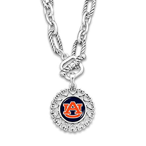 Auburn Tigers Silver Tone Necklace With Round Logo Charm Outlined in Hearts