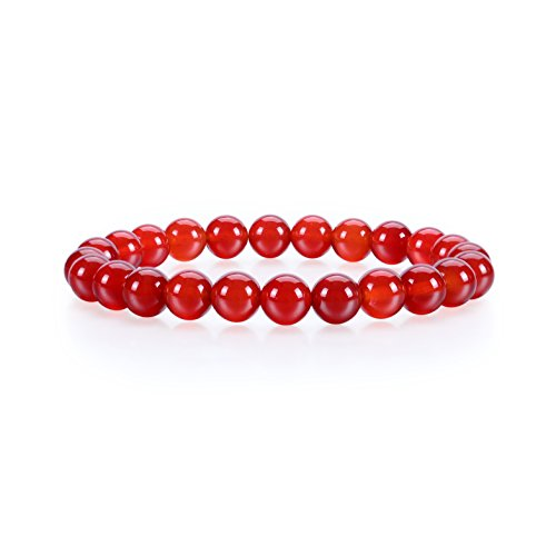 (Cherry Tree Collection Gemstone Beaded Stretch Bracelet 8mm Round Beads 7