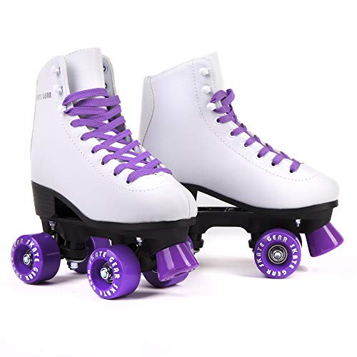 Cal 7 Roller Skates for Indoor & Outdoor Skating, Faux Leather Boot with Quad Design, Ankle Support Frame, Adults & Kids (Purple, Men's 8 / Women's 9) (White Roller Skates)