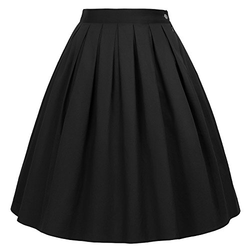 GRACE KARIN 1950s Retro A-line Skirt Knee Length Black Size 3XL CL6294-28