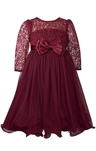 Bonnie Jean Big Girls 7-16 Long Sleeve Embroidered Lace Tulle Holiday Dress - 14, Burgundy Bonnie Jean Embroidered Jeans