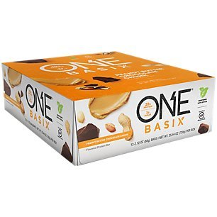(ONE Basix Protein Bars, Peanut Butter Chocolate Chunk, Gluten Free Protein Bars with 20g Protein and only 1g Sugar, Guilt-Free Snacking for High Protein Diets, 2.12 oz (12 Pack))