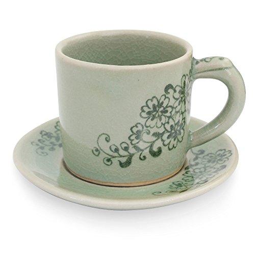 NOVICA TWE0306 Jade Blossoms' Celadon Ceramic Demitasse Cup and -