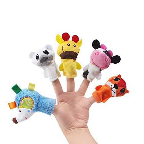 CMrtew ❤️ 5PCS Animal Finger Puppet Plush Toys Puppets Hand Dolls Cute Cartoon Animal Doll Child Baby Favor Dolls Kids Toys (B, 7.5 cm) ()