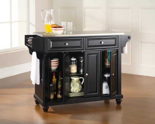 Kitchen Crosley Furniture Cambridge Full Size Kitchen Island with Stainless Steel Top, Black modern kitchen islands and carts