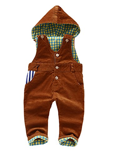 Corduroy Plaid Overalls (Kidscool Baby Corduroy Plaid Lining Soft Cute Overalls with Hat)