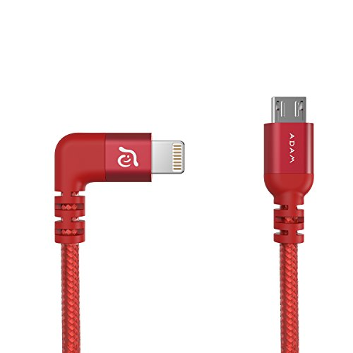 Nylon Braided Lightning To Micro Usb Cable  Perfect Fit For Dji Mavic Pro   Spark Controller  Supports Dji Lightbridge  Mfi Certified Charge   Syncing  Ios Apple Iphone Ipad   By Adam Elements   Red