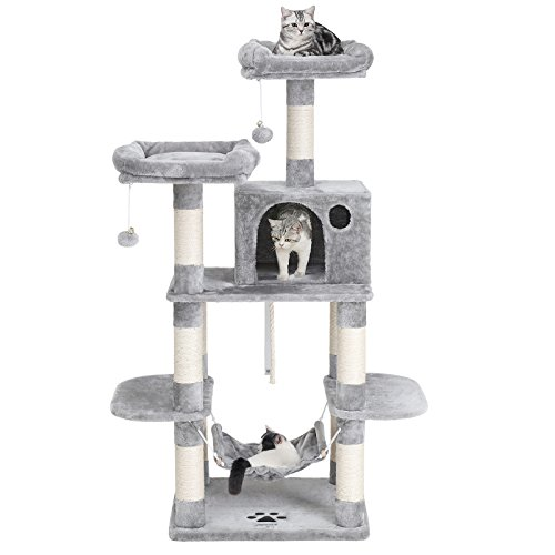 - SONGMICS Cat Tree Condo with Scratching Posts Kitty Tower Furniture Pet Play House Bed Light Grey 59