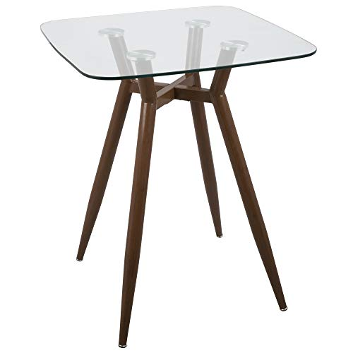 Lumisource Clara Mid-Century Modern Counter Table, Square, Clear/Walnut ()