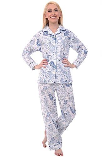 Del Rossa Women's Cotton Pajamas, Long Woven Pj Set, Large Beach Life on Cream (A0517V38LG)