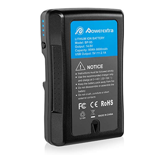 Powerextra 95Wh (6600mAh) V Mount/V-Lock Battery Compatible with Sony Camera Camcorder Broadcast Replacement Brick for DSLR