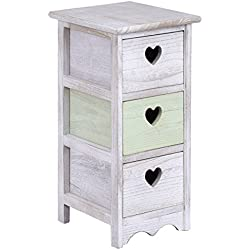 Giantex Wooden Bedside Table Nightstand Cabinet Bedroom Furniture W/3 Storage Drawer (1)