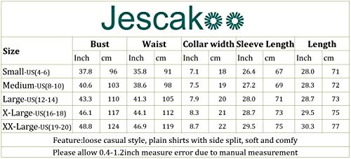 Jescakoo Long Sleeve Loose Pullover Tunic Tops Side Split Plain Shirts