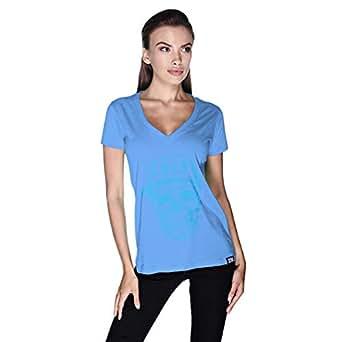 Creo Light Blue Coco Skull T-Shirt For Women - L, Blue