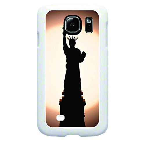 Statue of Libery Silhouette Hard Plastic WHITE Case for the Samsung Galaxy s6 Only! (Not Compatible with the s6 EDGE)