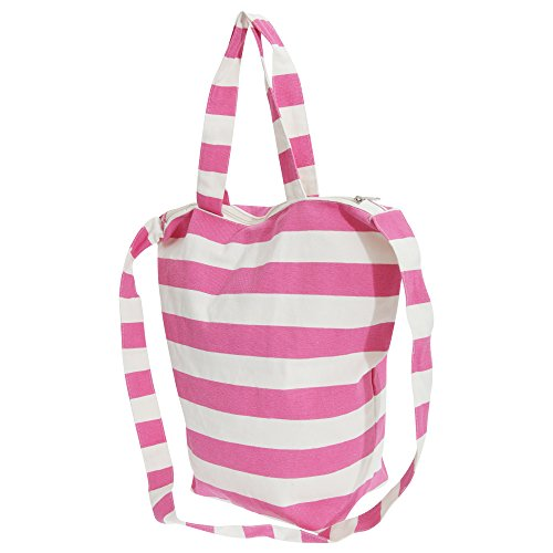 FLOSO Womens/Ladies Striped Summer Handbag With Shoulder Strap (One Size) (White/Pink)